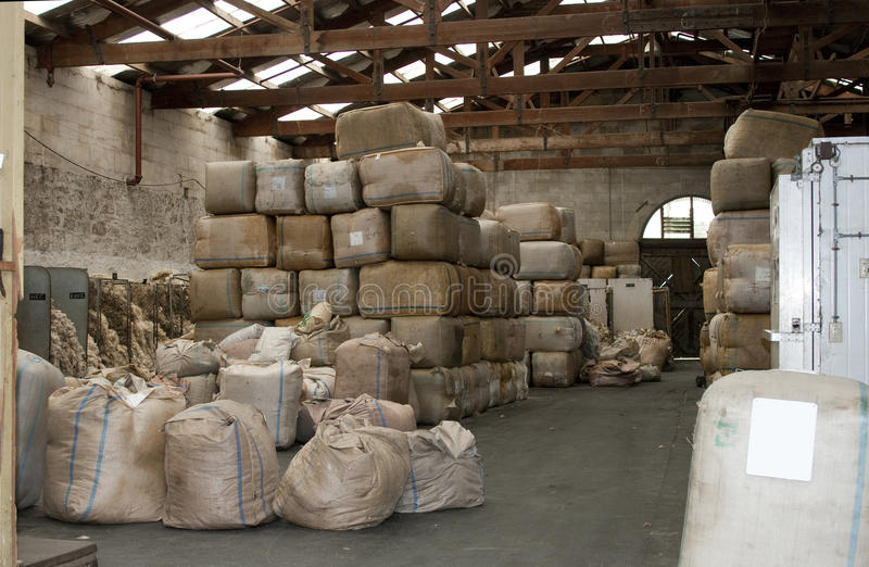 Warehouse full of wool royalty free stock images