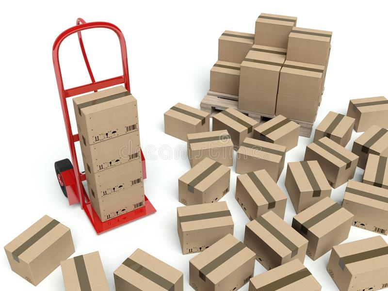 Warehouse hand truck and many cardboard boxes vector illustration