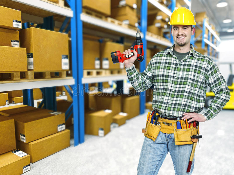 Warehouse and handyman stock images