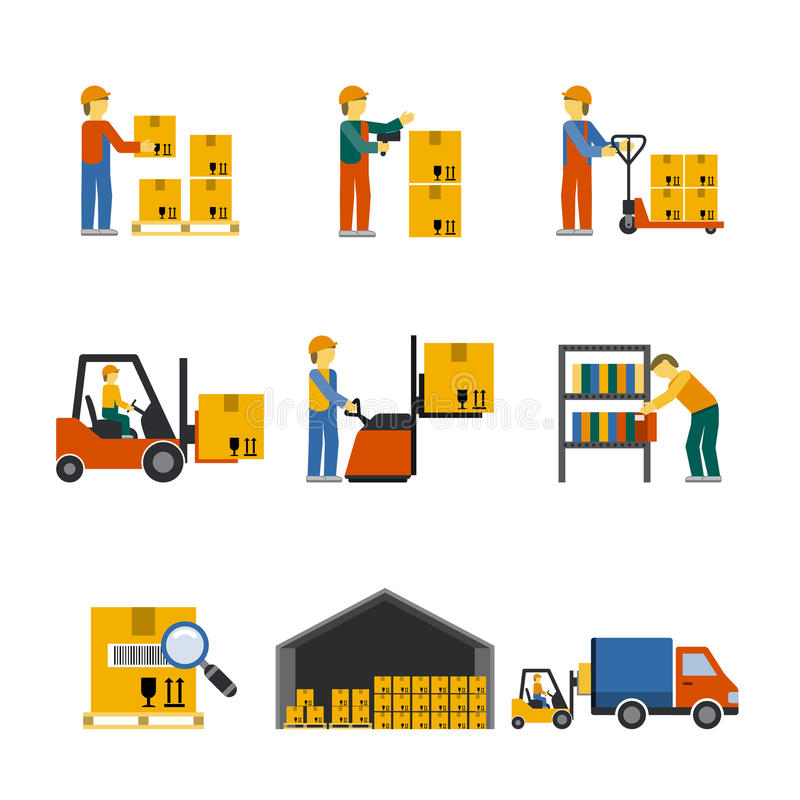Warehouse Icon Flat. Set with forklift cart service manager isolated vector illustration vector illustration