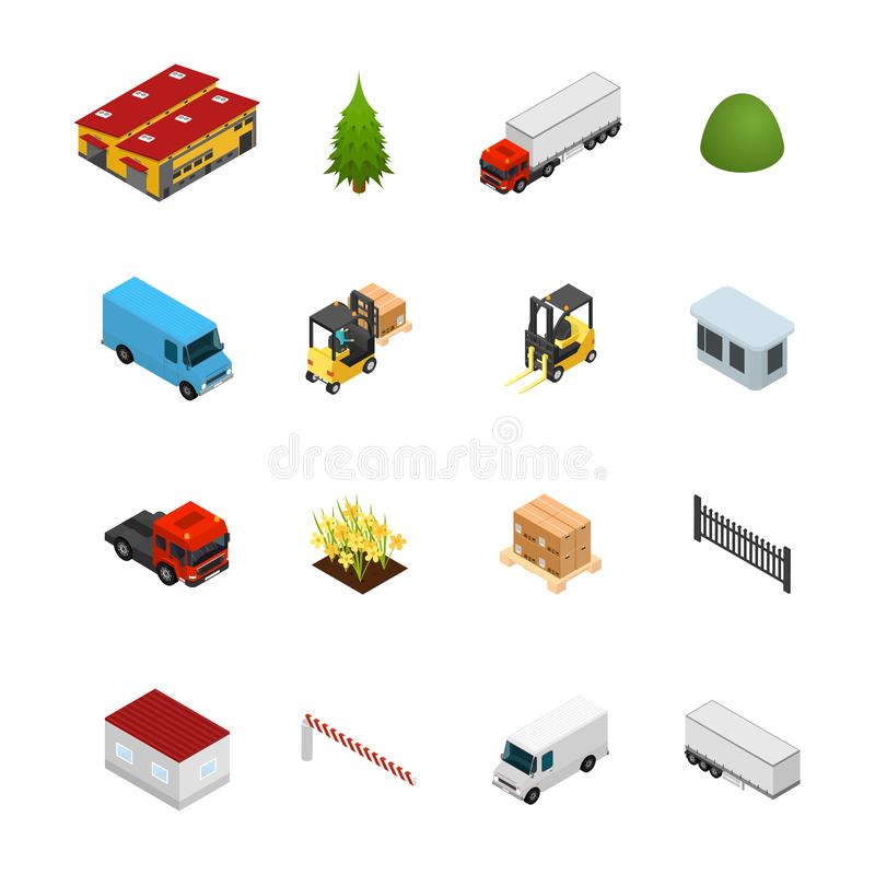 Warehouse Icon Set 3d Isometric View. Vector stock illustration