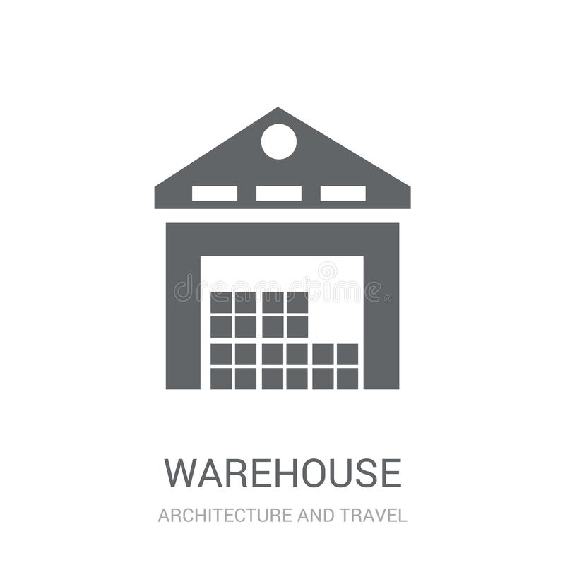 Warehouse icon. Trendy Warehouse logo concept on white background from Architecture and Travel collection. Suitable for use on web apps, mobile apps and print royalty free illustration