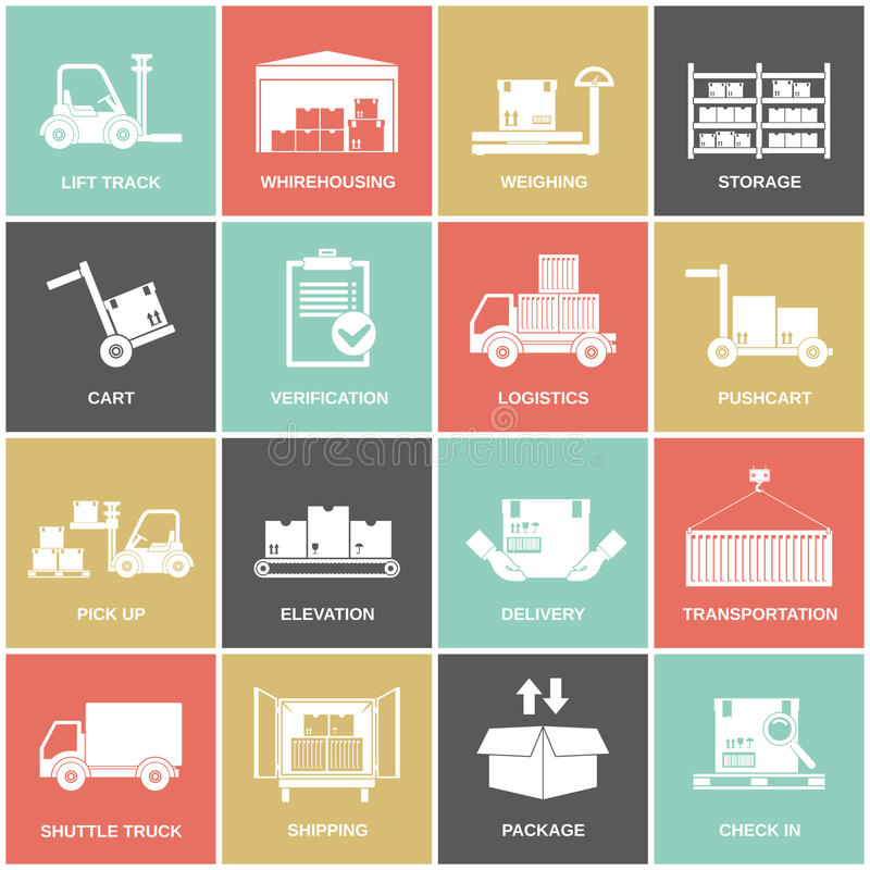 Warehouse icons flat. Set of storage cart verification isolated vector illustration