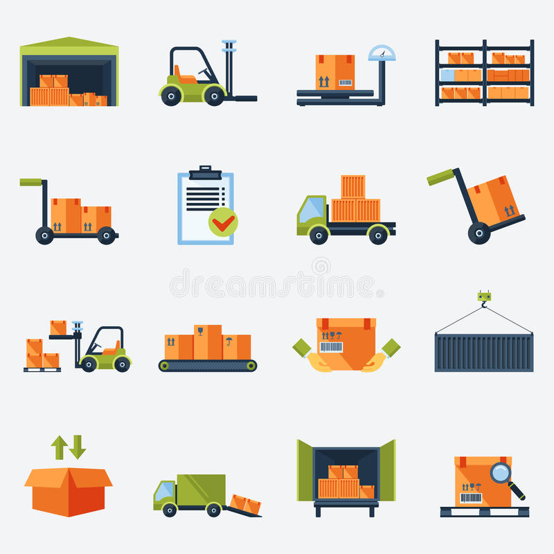 Download Warehouse Icons Flat stock vector. Illustration of isolated - 44674077
