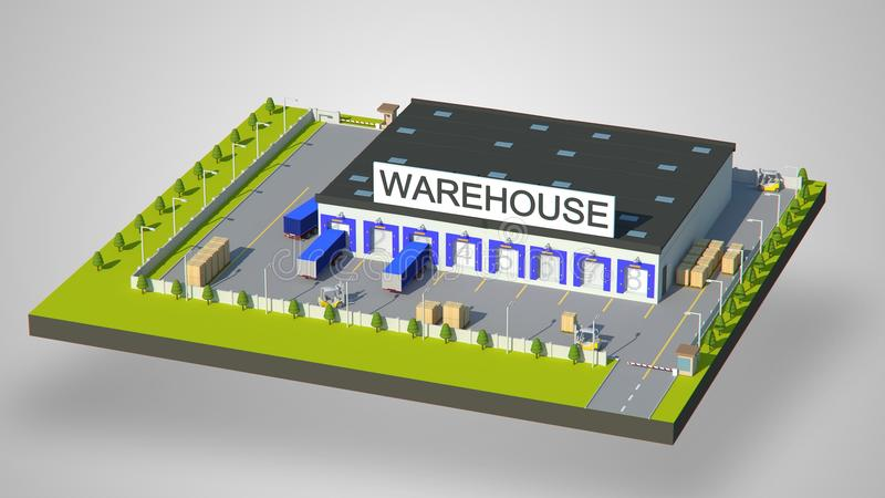 Warehouse Industrial area with seating for loading and unloading, shipping and delivery, transportation and building. Isolated 3D royalty free illustration