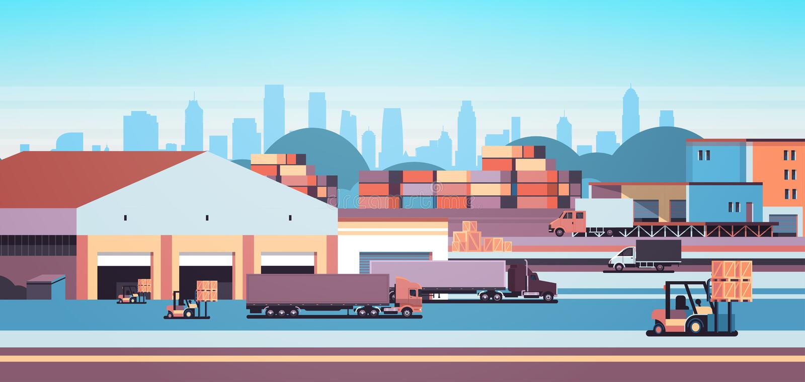 Warehouse industrial container semi trailer loading cargo freight outdoor international delivery concept flat horizontal. Banner vector illustration royalty free illustration