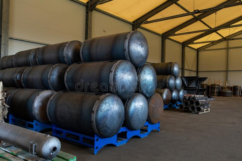 Warehouse for industry metal cistern royalty free stock image