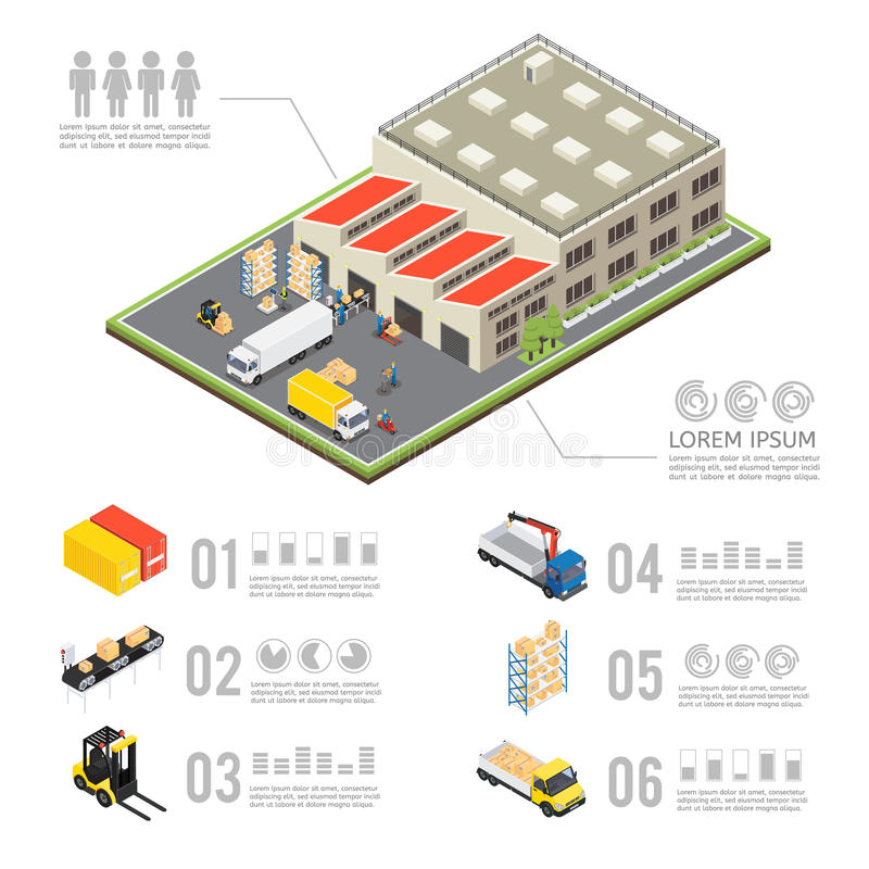 Warehouse Infographics isométrico libre illustration