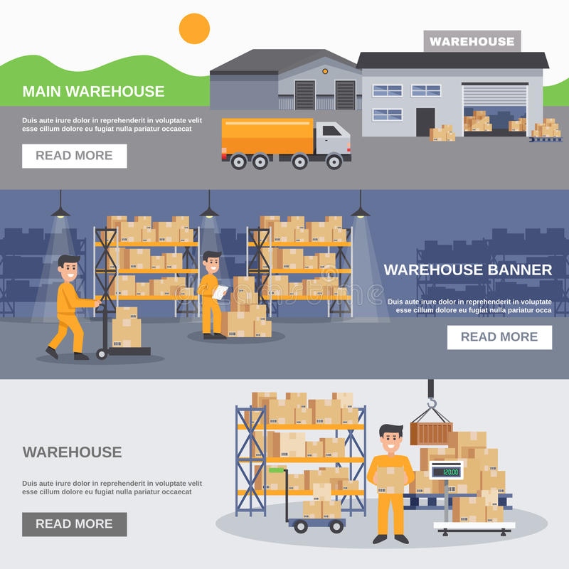Warehouse Inside And Outside Horizontal Banners vector illustration