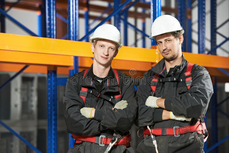 Warehouse installation staff workers stock images
