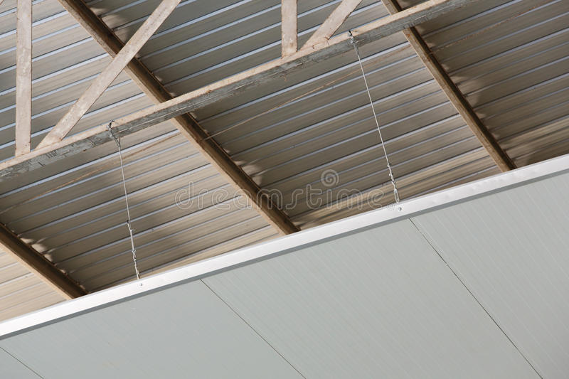 Warehouse insulator installation. For control temperature inside stock photography