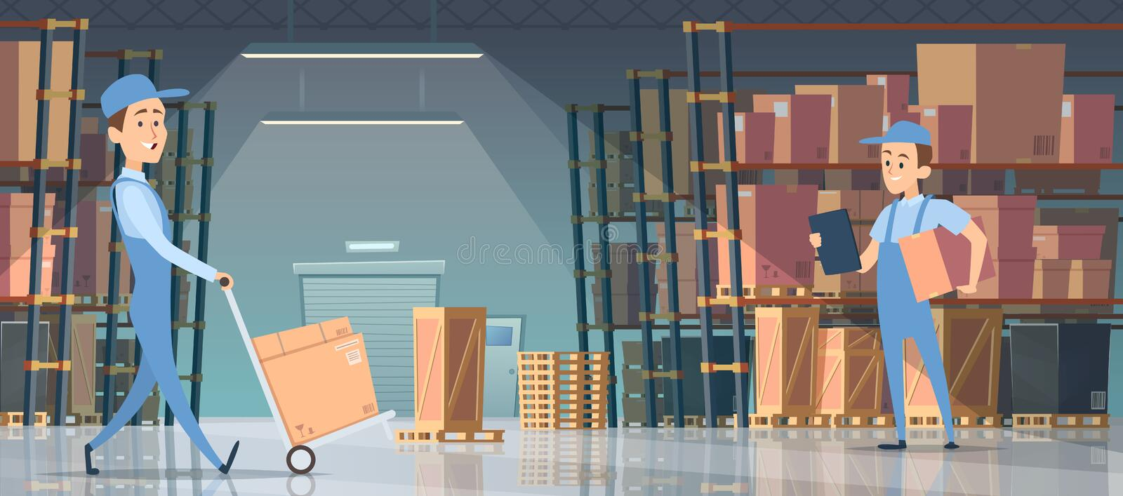Warehouse interior. Big room with boxes on pallet shelves people loaders working vector inside of warehouse royalty free illustration