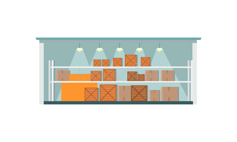 Warehouse Interior Icon. Warehouse interior, logisti and factory building exterior, business delivery, storage cargo vector illustration. Logistics and stock illustration