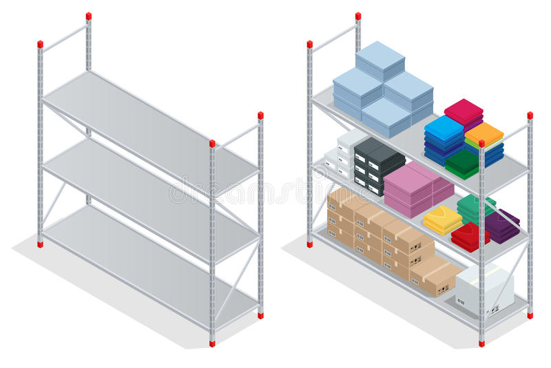 Warehouse interior. Storehouse, goods. Empty warehouse shelves. Flat 3d isometric vector illustration. Warehouse interior. Storehouse, goods. Empty warehouse stock illustration