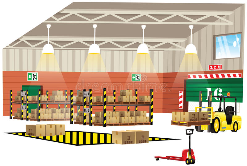 Warehouse interior view vector illustration