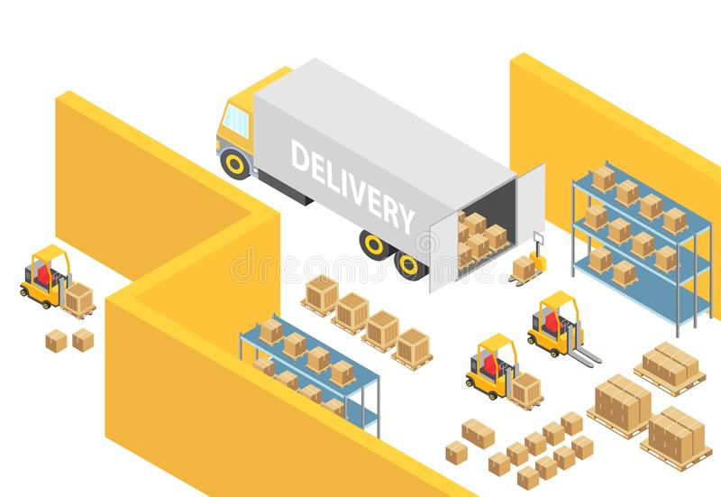 Warehouse isometric 3D warehouse interior map illustration with logistics transport and delivery vehicles. Loader vector illustration