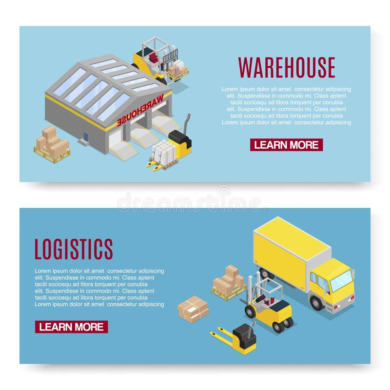 Warehouse isometric vector illustration with storage building shelves, loader and boxes transportation on blue royalty free illustration