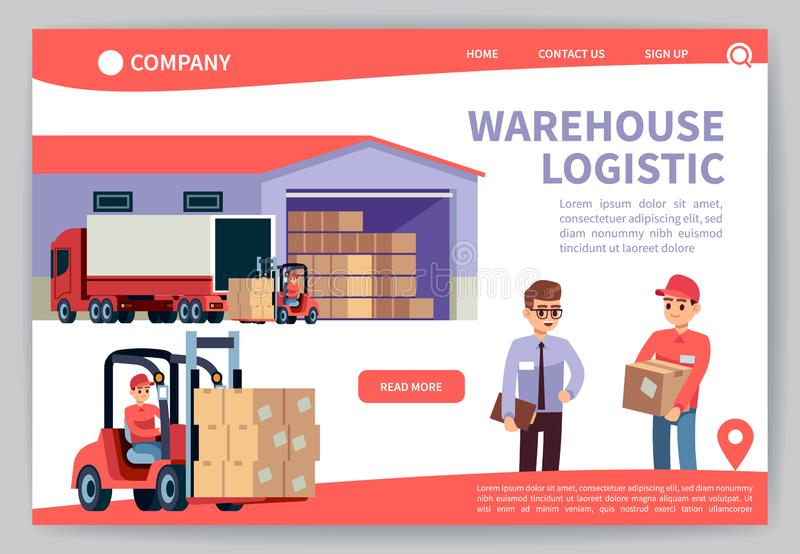 Warehouse landing. Warehousing logistics service, truck transportation marketing. Worldwide delivery technology web page royalty free illustration