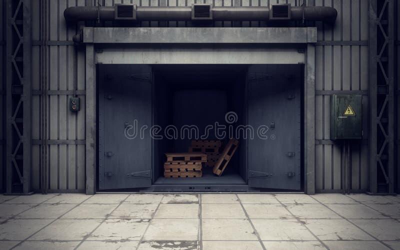 Warehouse loading dock inside. Old warehouse loading dock inside stock illustration