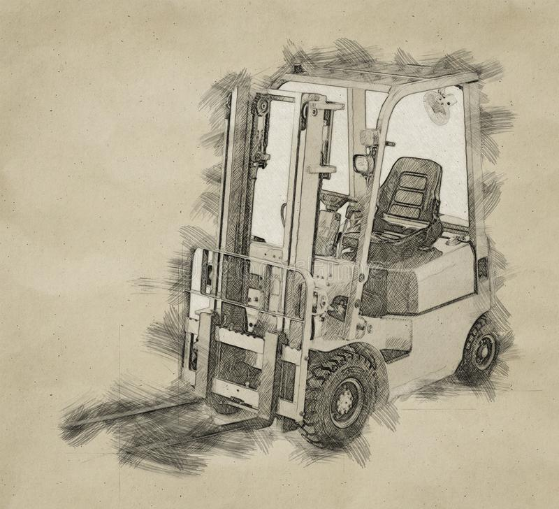 Warehouse logistics, packages shipment, delivery and loading concept, forklift truck in drawing style or sketch vector illustration