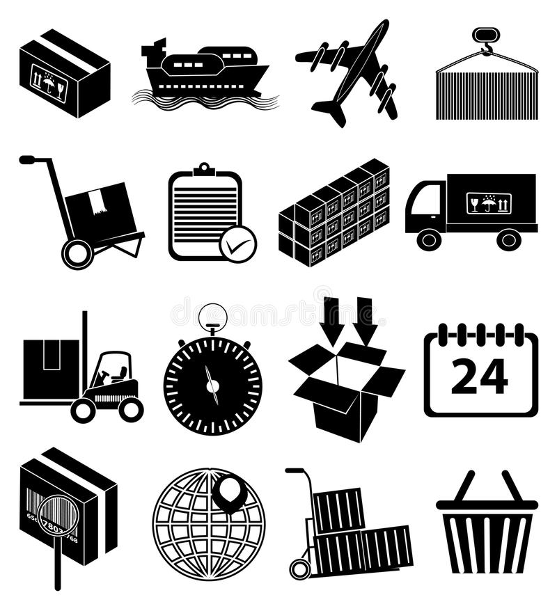 Warehouse logistics packaging delivery icons set. In black stock illustration