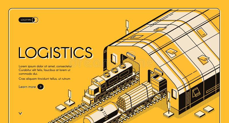Warehouse logistics, railway wood global shipping royalty free illustration