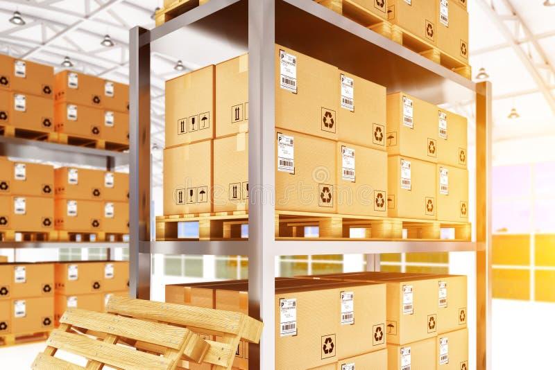 Warehouse logistiken, packesändningen, frakttrans. och leveransbegreppet arkivfoto