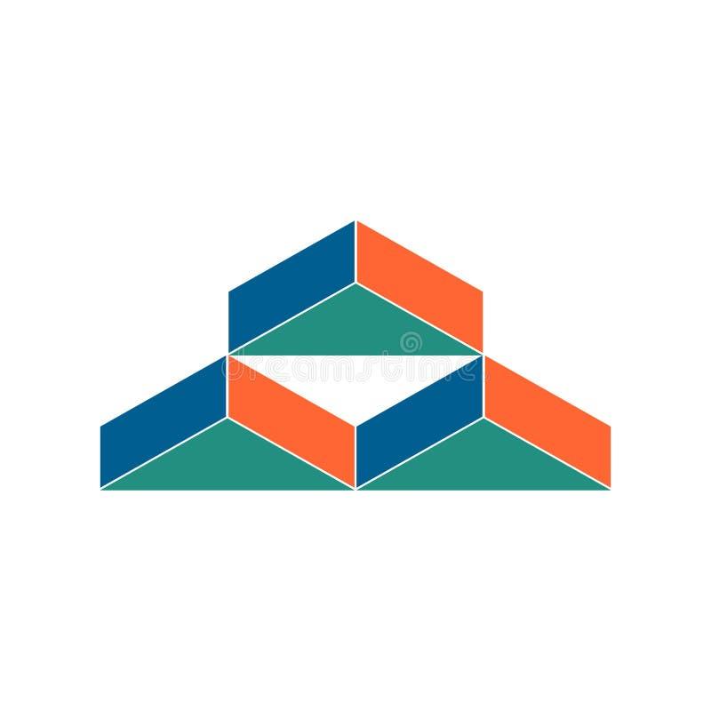 Warehouse logo. Abstract barn hangar. Geometric emblem. stock illustration