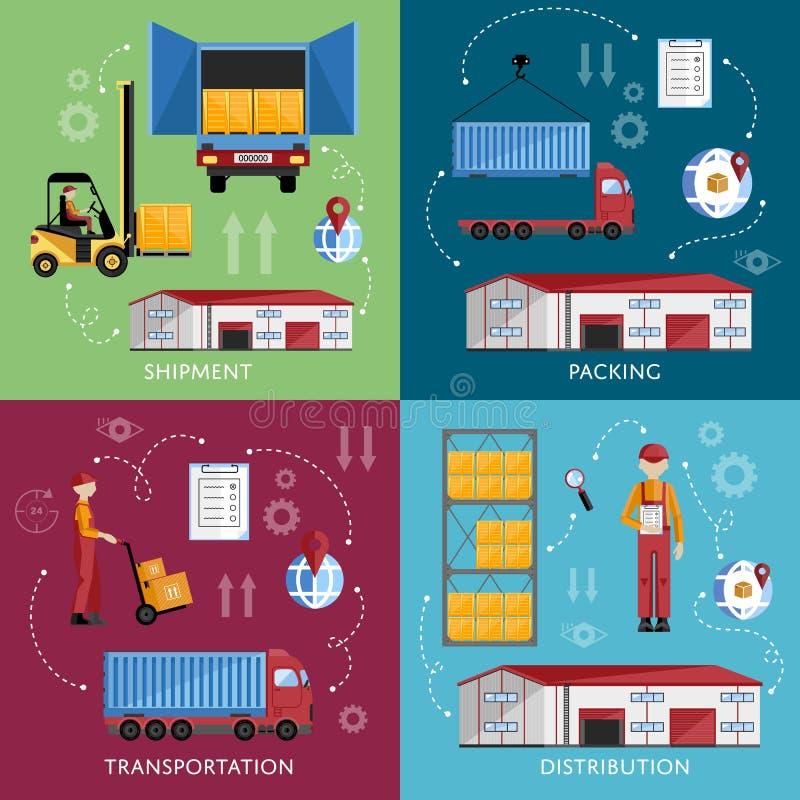 Warehouse management concept flat design stock illustration
