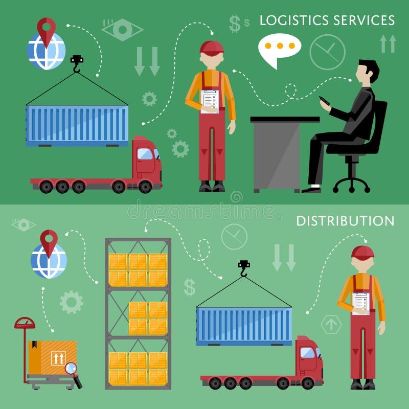 Warehouse management concept flat design vector illustration