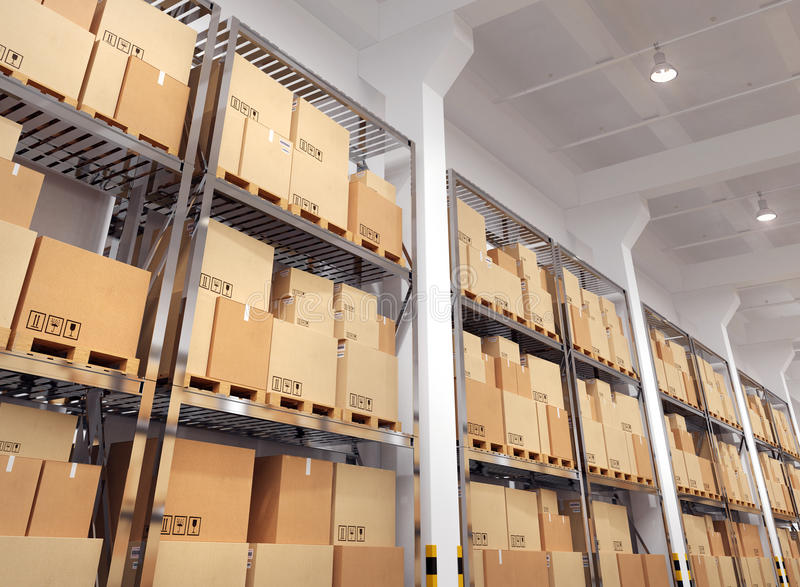 Warehouse with many racks and boxes stock illustration