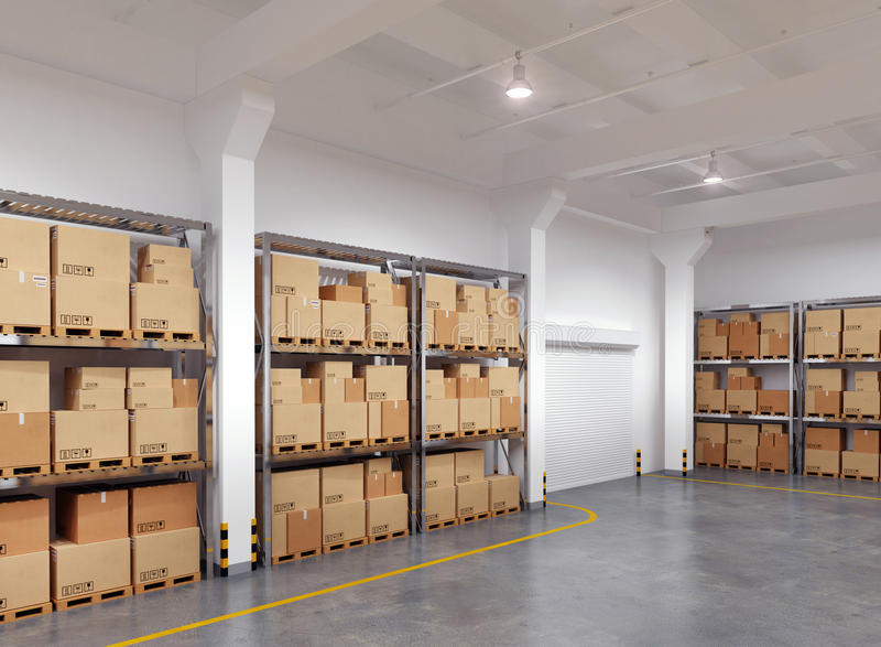 Warehouse with many racks and boxes royalty free illustration
