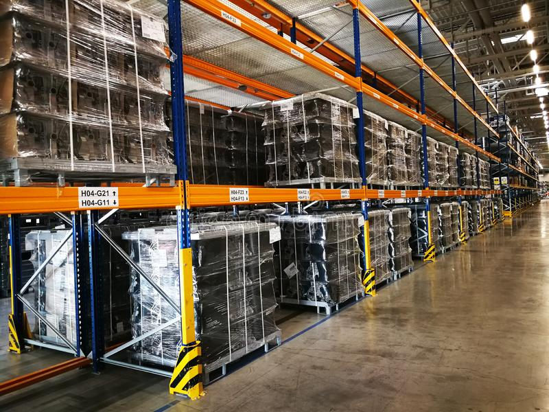 Warehouse with metal shelves and finished products.  royalty free stock photos