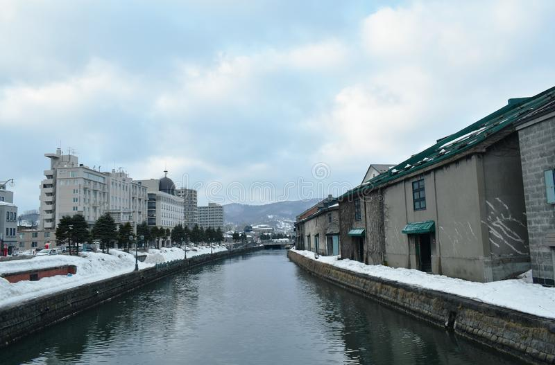 Warehouse on Otaru canal old port town and landmark in Hokkaido Japan. Ancient warehouse on Otaru canal old port town and landmark in Hokkaido Japan royalty free stock photos