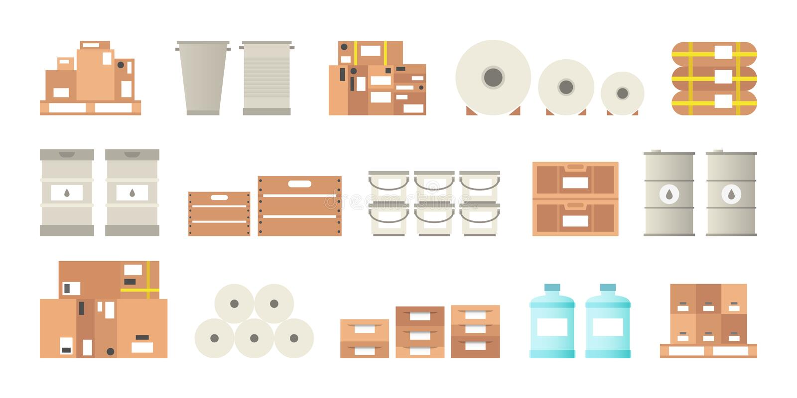 Warehouse packaging types vector set in flat style vector illustration