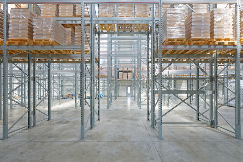 Warehouse. Pallet Rack With Goods in Distribution Warehouse stock photos
