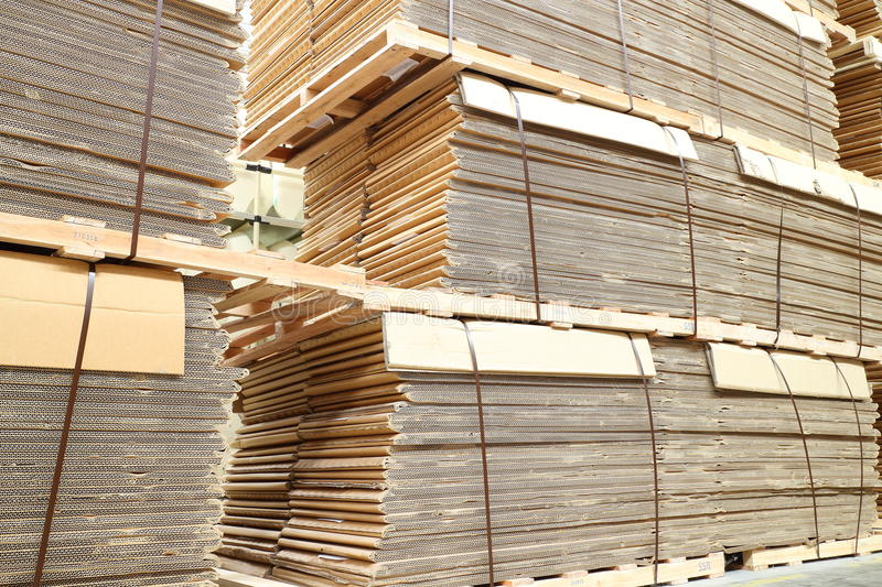Warehouse paper box. Pallet in factory royalty free stock photography
