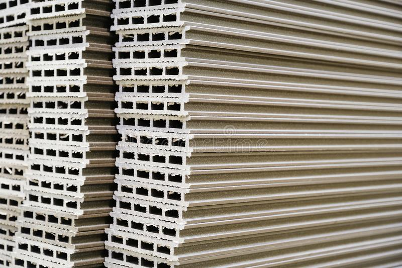 Warehouse production and woodworking. Medium density fiberboard typesetting. Selective focus royalty free stock photo