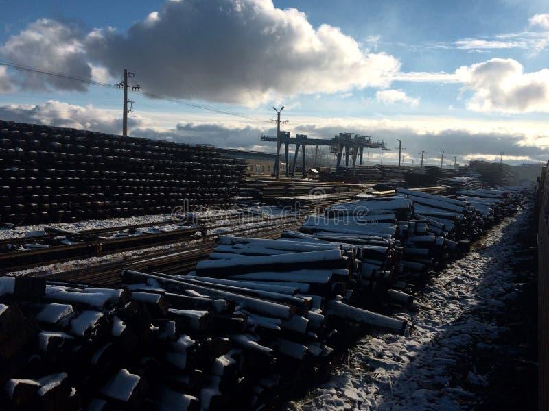 Warehouse railway sleepers at the repair base stock image