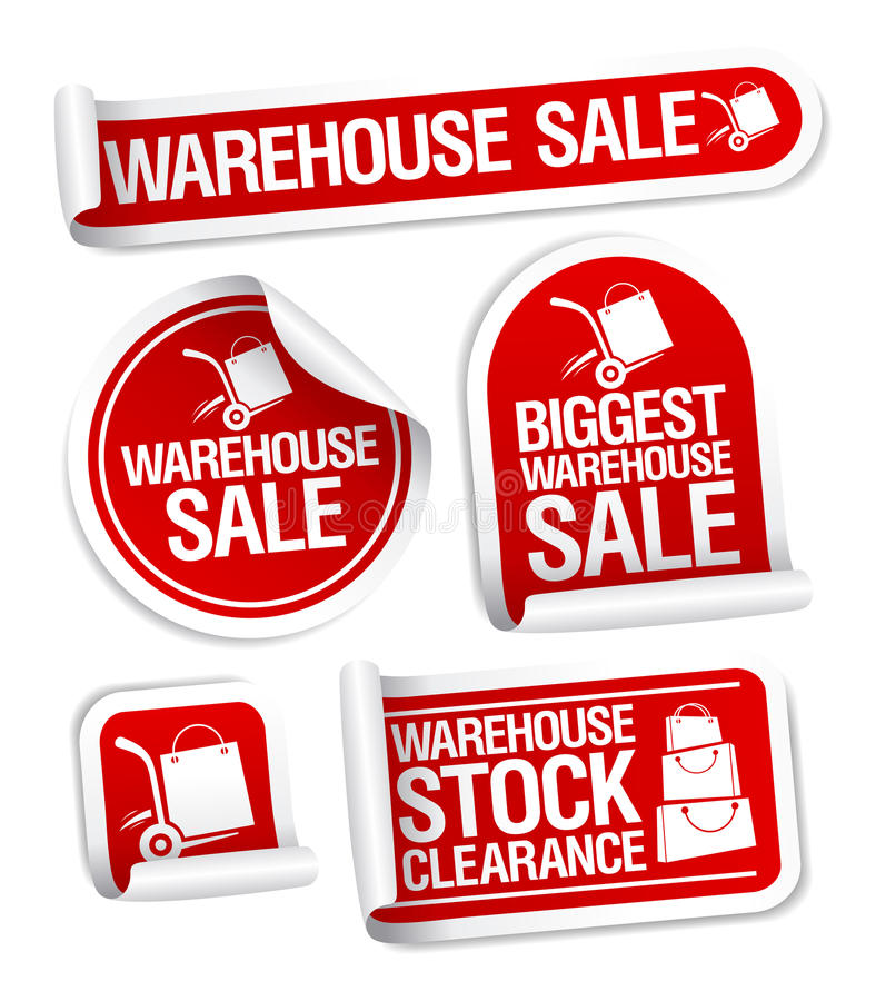 Warehouse sale stickers. vector illustration