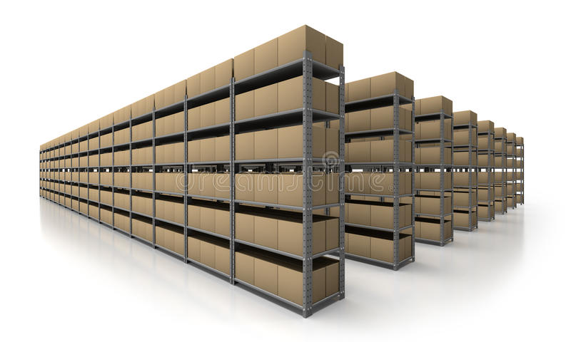 Warehouse scene in perspective royalty free illustration