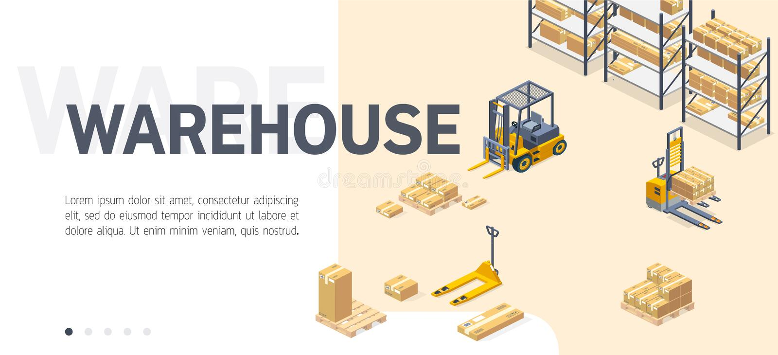 Warehouse service site isometric vector template royalty free illustration