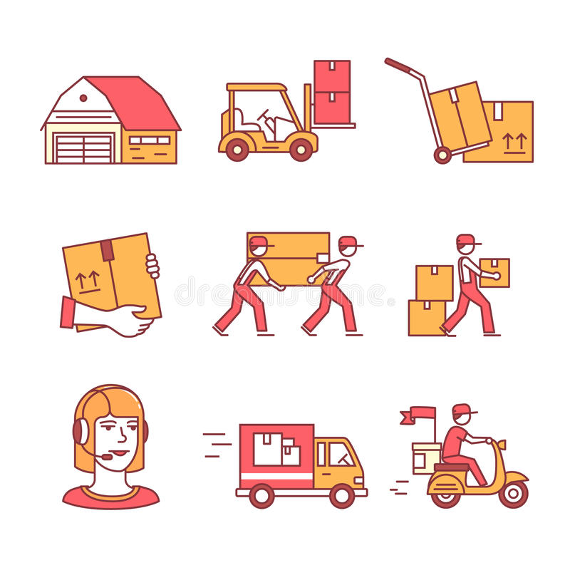 Warehouse, servicios y transporte de la entrega libre illustration