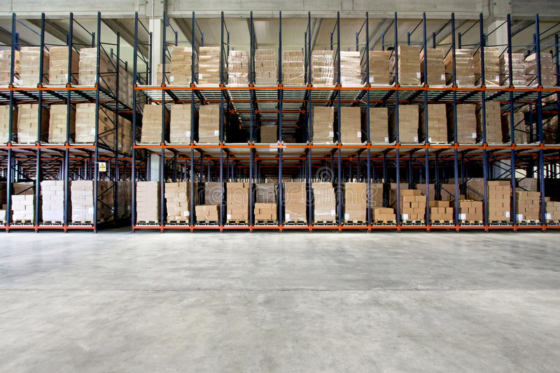 Warehouse shelf royalty free stock photos