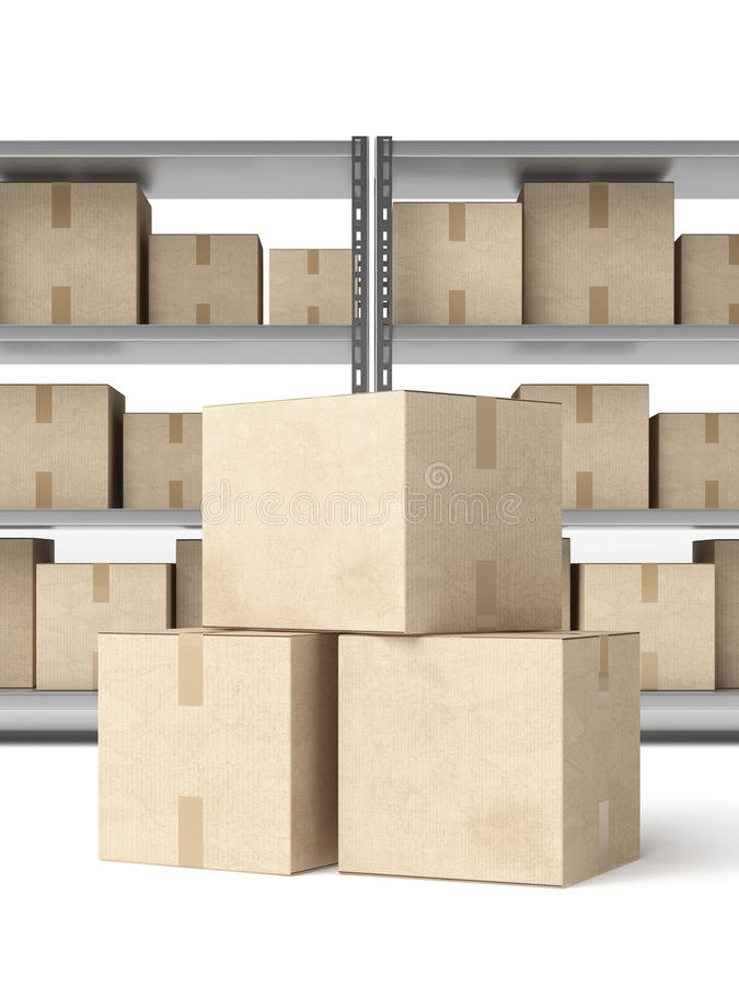 Warehouse Shelves with boxes royalty free illustration