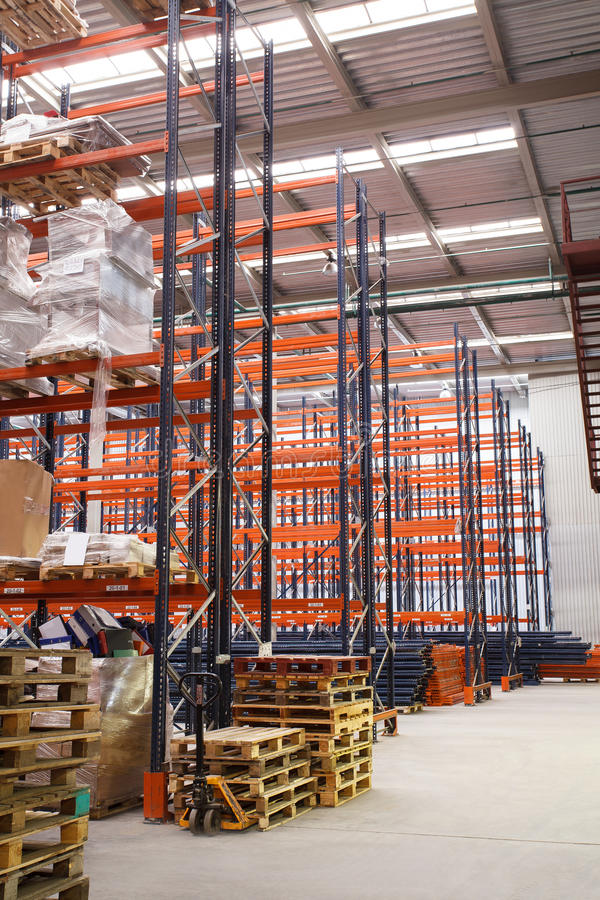 Warehouse shelving stock photo