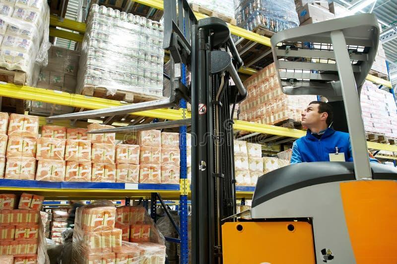 Warehouse stacker loader worker stock images