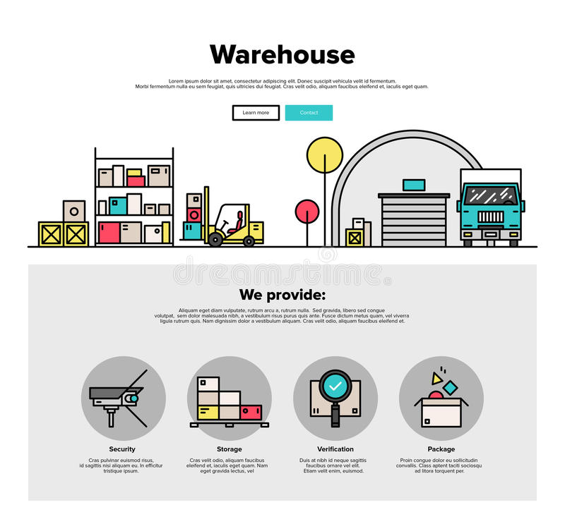 Warehouse storage flat line web graphics stock vector for Warehouse layout software free