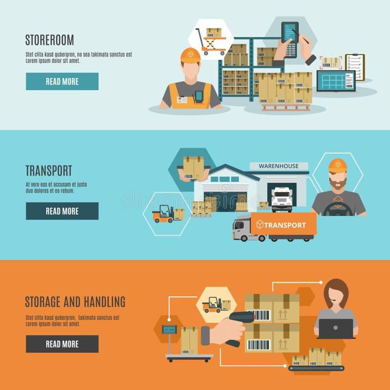 Warehouse storeroom interactive flat banners set. Warehouse goods storage handling and transportation 3 flat horizontal interactive webpage banners set abstract vector illustration