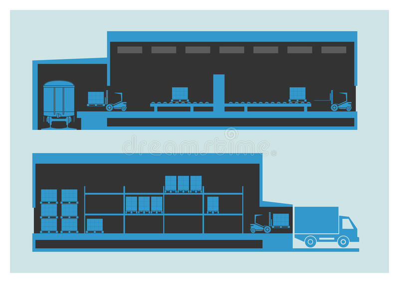 Warehouse. The unloading and loading process stock illustration
